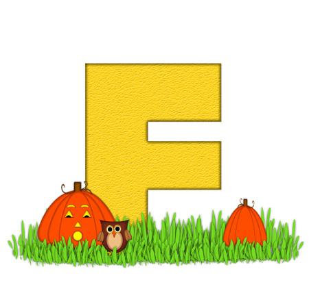 pumpkin patch: The letter F, in the alphabet set Pumpkin Patch  is  a yellow and and sits in the green grass of a pumpkin patch.  Two orange pumpkins and an owl decorate letter.