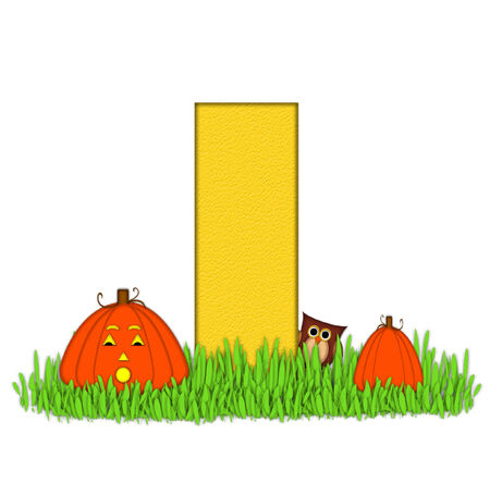 pumpkin patch: The letter I, in the alphabet set Pumpkin Patch  is  a yellow and and sits in the green grass of a pumpkin patch.  Two orange pumpkins and an owl decorate letter.