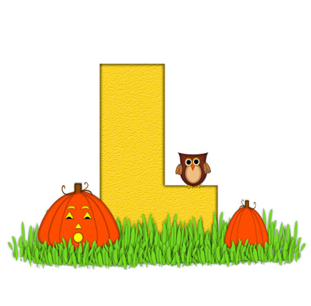 pumpkin patch: The letter L, in the alphabet set Pumpkin Patch  is  a yellow and and sits in the green grass of a pumpkin patch.  Two orange pumpkins and an owl decorate letter.