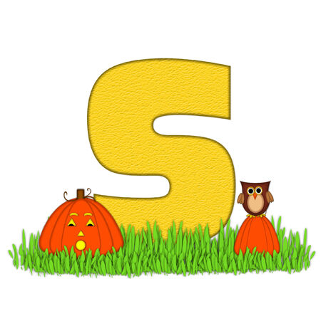 pumpkin patch: The letter S, in the alphabet set Pumpkin Patch  is  a yellow and and sits in the green grass of a pumpkin patch.  Two orange pumpkins and an owl decorate letter.