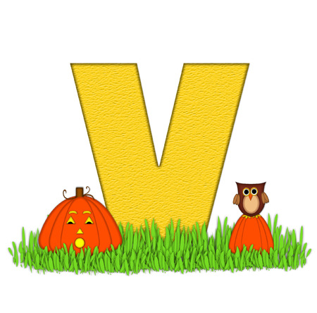 carved letters: The letter V, in the alphabet set Pumpkin Patch  is  a yellow and and sits in the green grass of a pumpkin patch.  Two orange pumpkins and an owl decorate letter.
