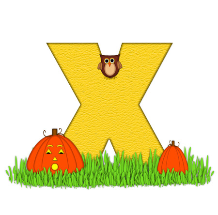 carved letters: The letter X, in the alphabet set Pumpkin Patch  is  a yellow and and sits in the green grass of a pumpkin patch.  Two orange pumpkins and an owl decorate letter.