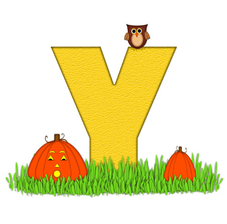 carved letters: The letter Y, in the alphabet set Pumpkin Patch  is  a yellow and and sits in the green grass of a pumpkin patch.  Two orange pumpkins and an owl decorate letter. Stock Photo