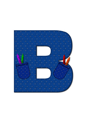 b days: The letter B, in the alphabet set School Days, in dressed in denim material with tilted pocket filled with pencils or crayons.  An apple with a worm sometimes decorates base of letters. Stock Photo