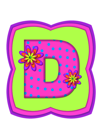 d: The letter D, in the alphabet set Daisy Daze, is colored in vivid pink with teal polka dots.  It is decorated with four layered daisies.  All sit on a pillow of neon green, hot pink and purple. Stock Photo