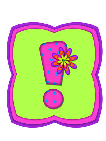 Exclamation point, in the alphabet set Daisy Daze, is colored in vivid pink with teal polka dots.  It is decorated with four layered daisies.  All sit on a pillow of neon green, hot pink and purple. Stock Photo