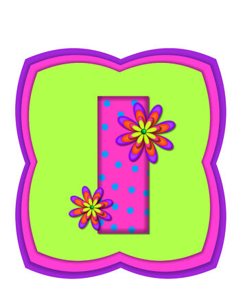 The letter I, in the alphabet set Daisy Daze, is colored in vivid pink with teal polka dots.  It is decorated with four layered daisies.  All sit on a pillow of neon green, hot pink and purple.