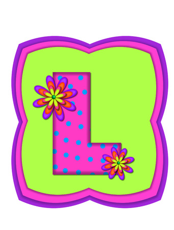 The letter L, in the alphabet set Daisy Daze, is colored in vivid pink with teal polka dots.  It is decorated with four layered daisies.  All sit on a pillow of neon green, hot pink and purple.
