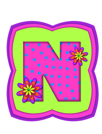 The letter N, in the alphabet set Daisy Daze, is colored in vivid pink with teal polka dots.  It is decorated with four layered daisies.  All sit on a pillow of neon green, hot pink and purple. photo
