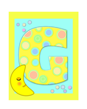 The letter G, in the alphabet set Sweet Dreams  is  a soft yellow and and decorated with polka dots and sleepy moon.  Yellow and aqua squares serve as background.