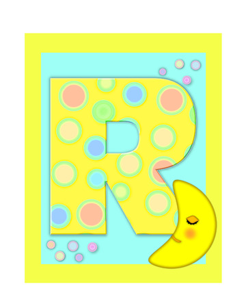 The letter R, in the alphabet set Sweet Dreams  is  a soft yellow and and decorated with polka dots and sleepy moon.  Yellow and aqua squares serve as background.