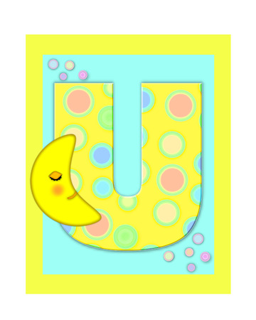 The letter U, in the alphabet set Sweet Dreams  is  a soft yellow and and decorated with polka dots and sleepy moon.  Yellow and aqua squares serve as background. Stock Photo
