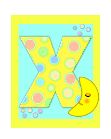 The letter X, in the alphabet set Sweet Dreams  is  a soft yellow and and decorated with polka dots and sleepy moon.  Yellow and aqua squares serve as background. photo
