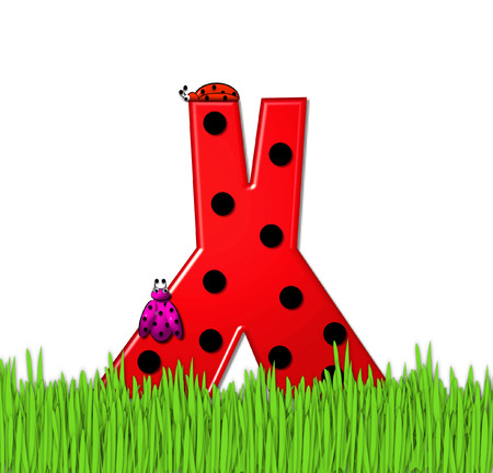 The red letter X, in the alphabet set Lady Bug Red, has large black polka dots and is decorated with 3D ladybugs.  Letter is nestled in tall, garden grass. photo