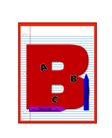 decorate notebook: The letter B, in the alphabet set Grade School Homework  is  red and and sits on background of notebook paper.  Crayons and ABCs decorate letter. Stock Photo