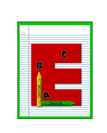decorate notebook: The letter E, in the alphabet set Grade School Homework  is  red and and sits on background of notebook paper.  Crayons and ABCs decorate letter.