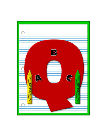 decorate notebook: The letter Q, in the alphabet set Grade School Homework  is  red and and sits on background of notebook paper.  Crayons and ABCs decorate letter. Stock Photo