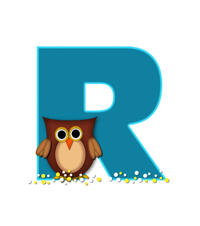 owl illustration: The letter R, in the alphabet set Owl  is turquoise.  It is decorated with a brown owl and white and yellow polka dots.
