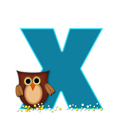 The letter X, in the alphabet set Owl  is turquoise.  It is decorated with a brown owl and white and yellow polka dots. photo