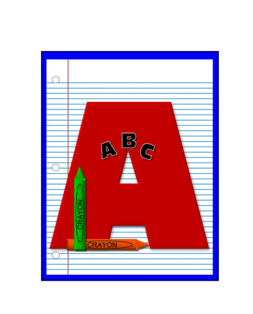 decorate notebook: The letter A, in the alphabet set Grade School Homework  is  red and and sits on background of notebook paper.  Crayons and ABCs decorate letter.