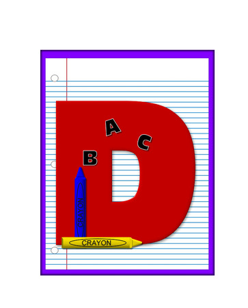decorate notebook: The letter D, in the alphabet set Grade School Homework  is  red and and sits on background of notebook paper.  Crayons and ABCs decorate letter.