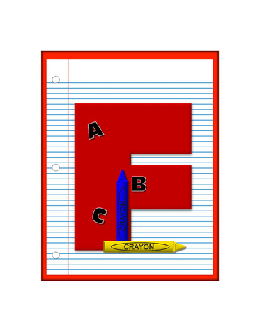 decorate notebook: The letter F, in the alphabet set Grade School Homework  is  red and and sits on background of notebook paper.  Crayons and ABCs decorate letter.