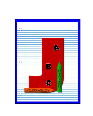 decorate notebook: The letter J, in the alphabet set Grade School Homework  is  red and and sits on background of notebook paper.  Crayons and ABCs decorate letter.