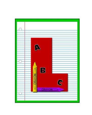 decorate notebook: The letter L, in the alphabet set Grade School Homework  is  red and and sits on background of notebook paper.  Crayons and ABCs decorate letter.