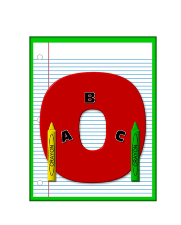 decorate notebook: The letter O, in the alphabet set Grade School Homework  is  red and and sits on background of notebook paper.  Crayons and ABCs decorate letter.