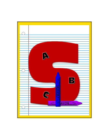 decorate notebook: The letter S, in the alphabet set Grade School Homework  is  red and and sits on background of notebook paper.  Crayons and ABCs decorate letter. Stock Photo