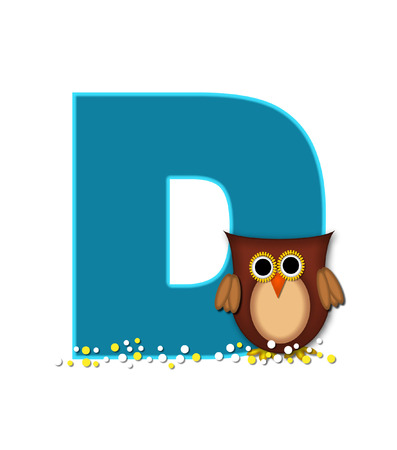 owl illustration: The letter D, in the alphabet set Owl  is turquoise.  It is decorated with a brown owl and white and yellow polka dots. Stock Photo