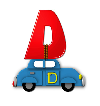 roped: The letter D, in the alphabet set Alphabet On the Go is tied with rope to transportation vehicles in different colors, shapes and sizes.    Stock Photo