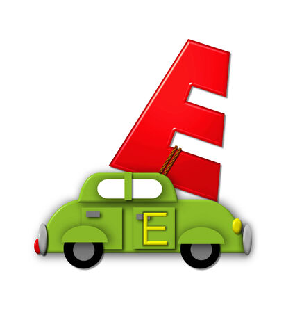 roped: The letter E, in the alphabet set Alphabet On the Go is tied with rope to transportation vehicles in different colors, shapes and sizes.