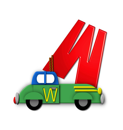 The letter W, in the alphabet set Alphabet On the Go is tied with rope to transportation vehicles in different colors, shapes and sizes.