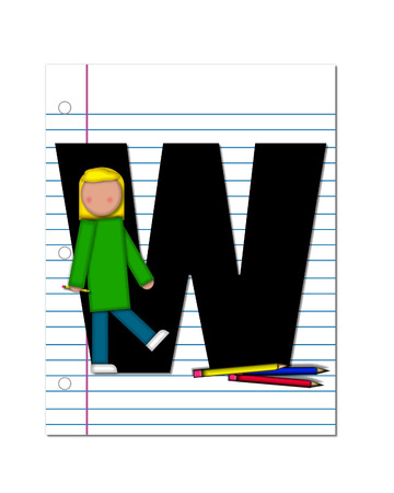 The letter W is decorated with pencils and student.    photo
