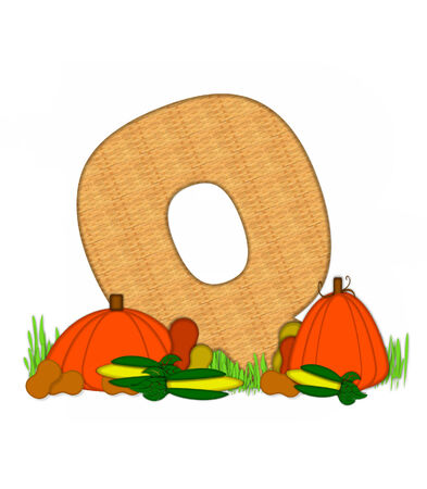 grassy field: The letter Q in grassy field surrounded by fall vegetables.