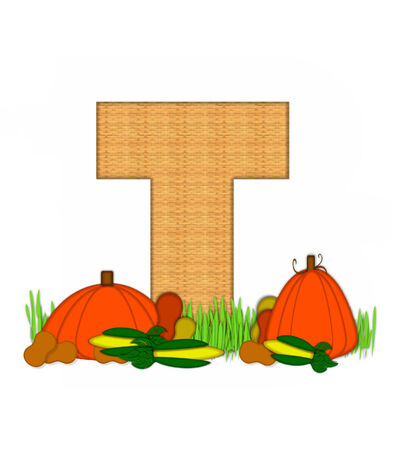 grassy field: The letter T, in the alphabet set Blessed Bounty, is filled with wicker texture.  Letter sits in grassy field surrounded by Fall vegetables. Stock Photo