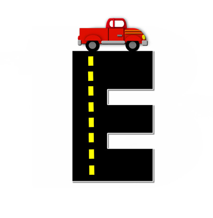 dividing line: The letter E, in the alphabet set Transportation by Road, is black with yellow dividing line representing a black top road.  Colorful, motorized vehicle navigates outside of letter. Stock Photo