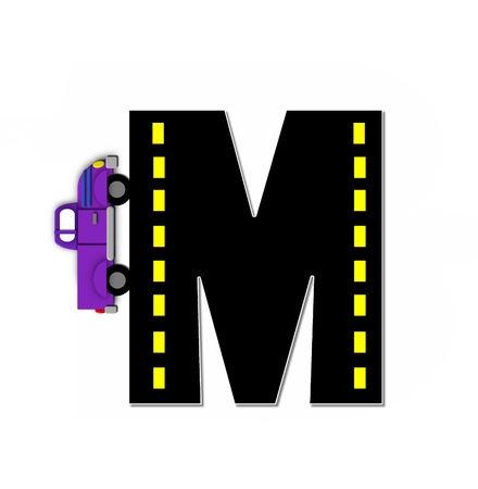 The letter M, colorful, motorized vehicle navigates outside of letter.