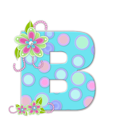 The letter B, in the alphabet set Softly Spotted, is soft aqua.  Letter is decorated with pastel circles, flowers and beads. photo
