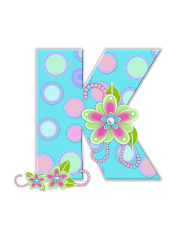 The letter K, in the alphabet set Softly Spotted, is soft aqua.  Letter is decorated with pastel circles, flowers and beads. Stock Photo