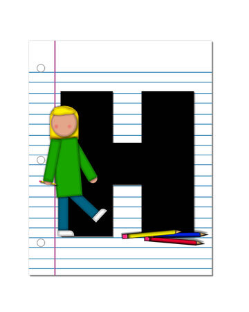 The letter H, in the alphabet set Start of School Two, is black.  Letter is sitting on a blank piece of notebook paper and is decorated with pencils and student.  This set coordinates with Alphabt Start of School. photo