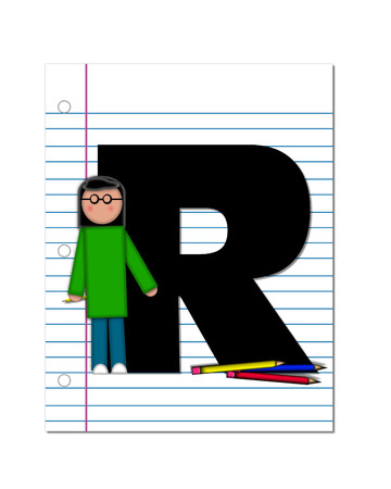 The letter R, in the alphabet set Start of School Two, is black.  Letter is sitting on a blank piece of notebook paper and is decorated with pencils and student.  This set coordinates with Alphabt Start of School. photo