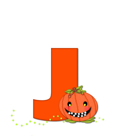 The letter J, in the alphabet set Pumpkin Head, is bright orange. Letter is decorated with smiling, toothy pumpkins and green polka dots.