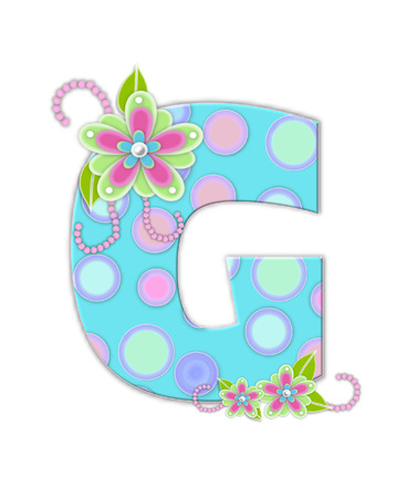 softly: The letter G, in the alphabet set Softly Spotted, is soft aqua.  Letter is decorated with pastel circles, flowers and beads.