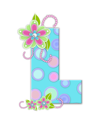 The letter L, in the alphabet set Softly Spotted, is soft aqua.  Letter is decorated with pastel circles, flowers and beads. photo
