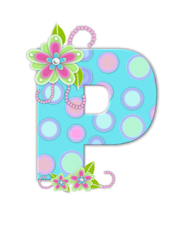 The letter P, in the alphabet set Softly Spotted, is soft aqua.  Letter is decorated with pastel circles, flowers and beads. photo