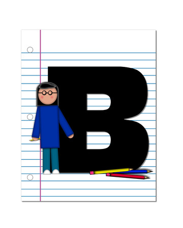 The letter B, in the alphabet set Start of School Two, is black.  Letter is sitting on a blank piece of notebook paper and is decorated with pencils and student.  This set coordinates with Alphabt Start of School. photo