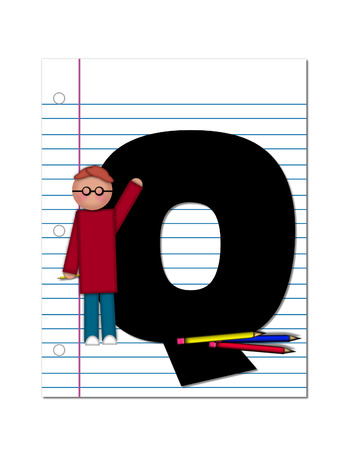 The letter Q, in the alphabet set Start of School Two, is black.  Letter is sitting on a blank piece of notebook paper and is decorated with pencils and student.  This set coordinates with Alphabt Start of School. photo