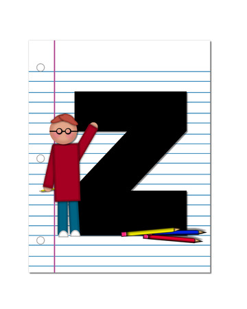 The letter Z, in the alphabet set Start of School Two, is black.  Letter is sitting on a blank piece of notebook paper and is decorated with pencils and student.  This set coordinates with Alphabt Start of School. photo